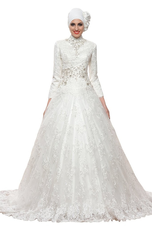 Desain kebaya pengantin muslim mewah