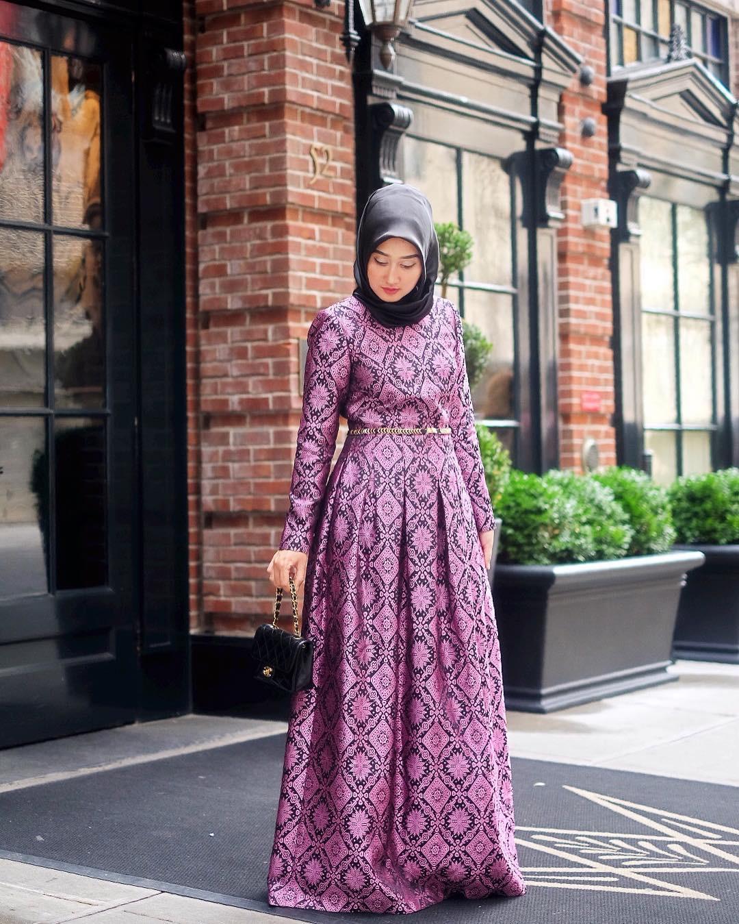 Baju gamis batik motif matahari-diamond