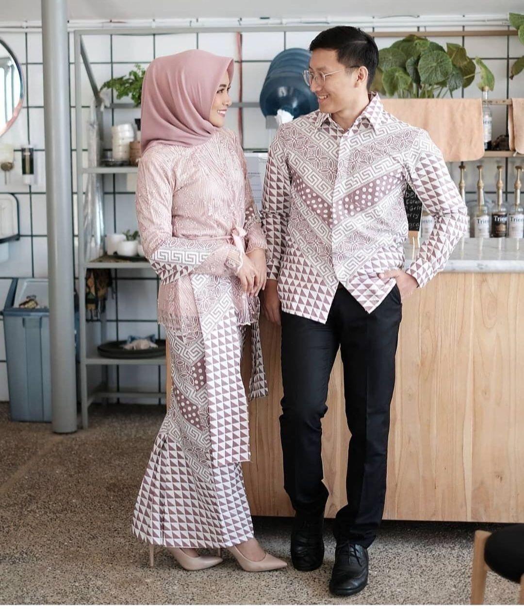 Batik Sarimbit Kombinasi Brokat
