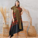 Batik dress selempang tabrak motif