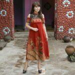 Dress A line cold shoulder merah