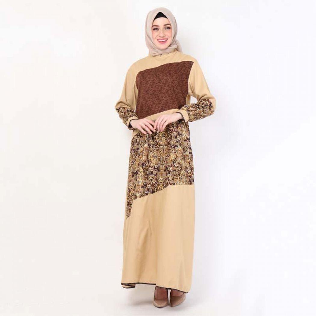Gamis batik kombinasi polos