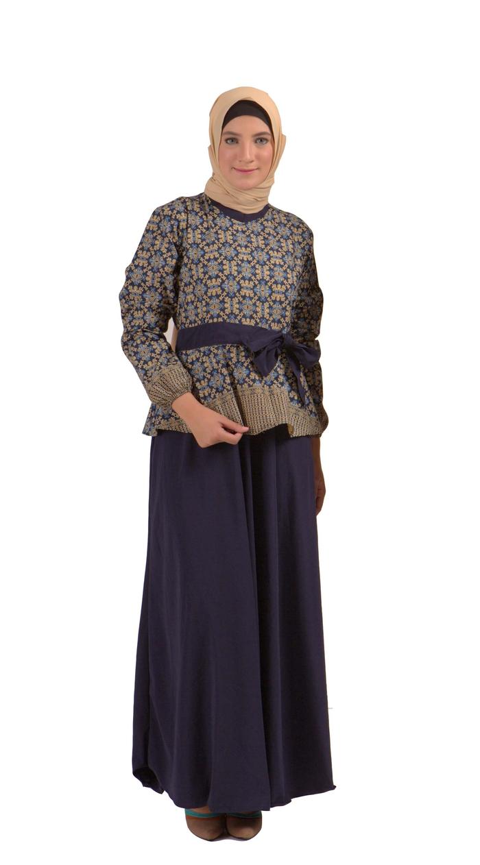 Gamis motif batik modern berpita