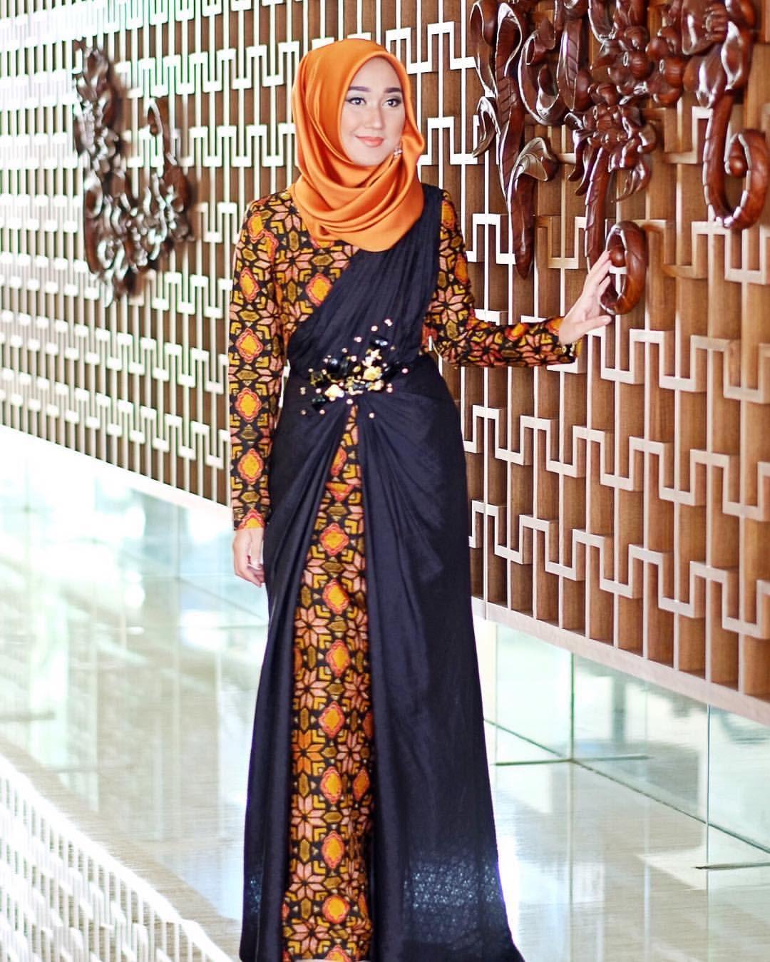 √ 9+ Model Gamis Batik Kombinasi Modern Terbaru 9