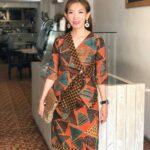 Mini dress batik tambal v neck atas lutut
