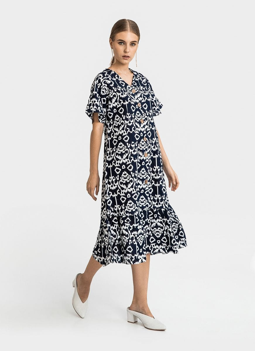 Model baju batik dress selutut