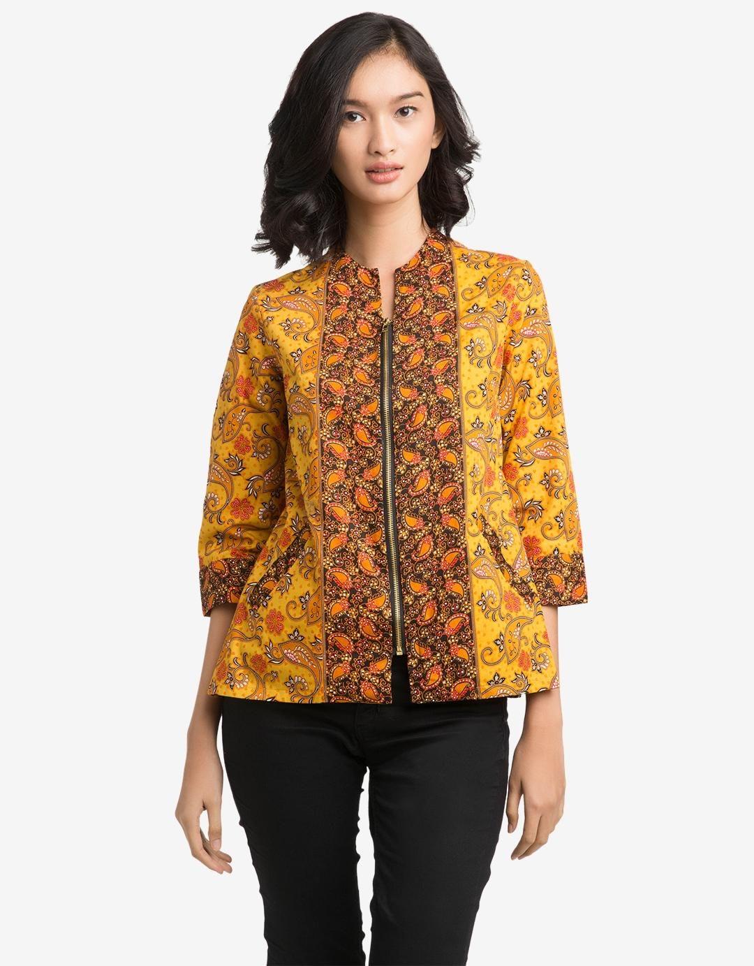 Model baju batik kantor wanita terbaru dengan resleting