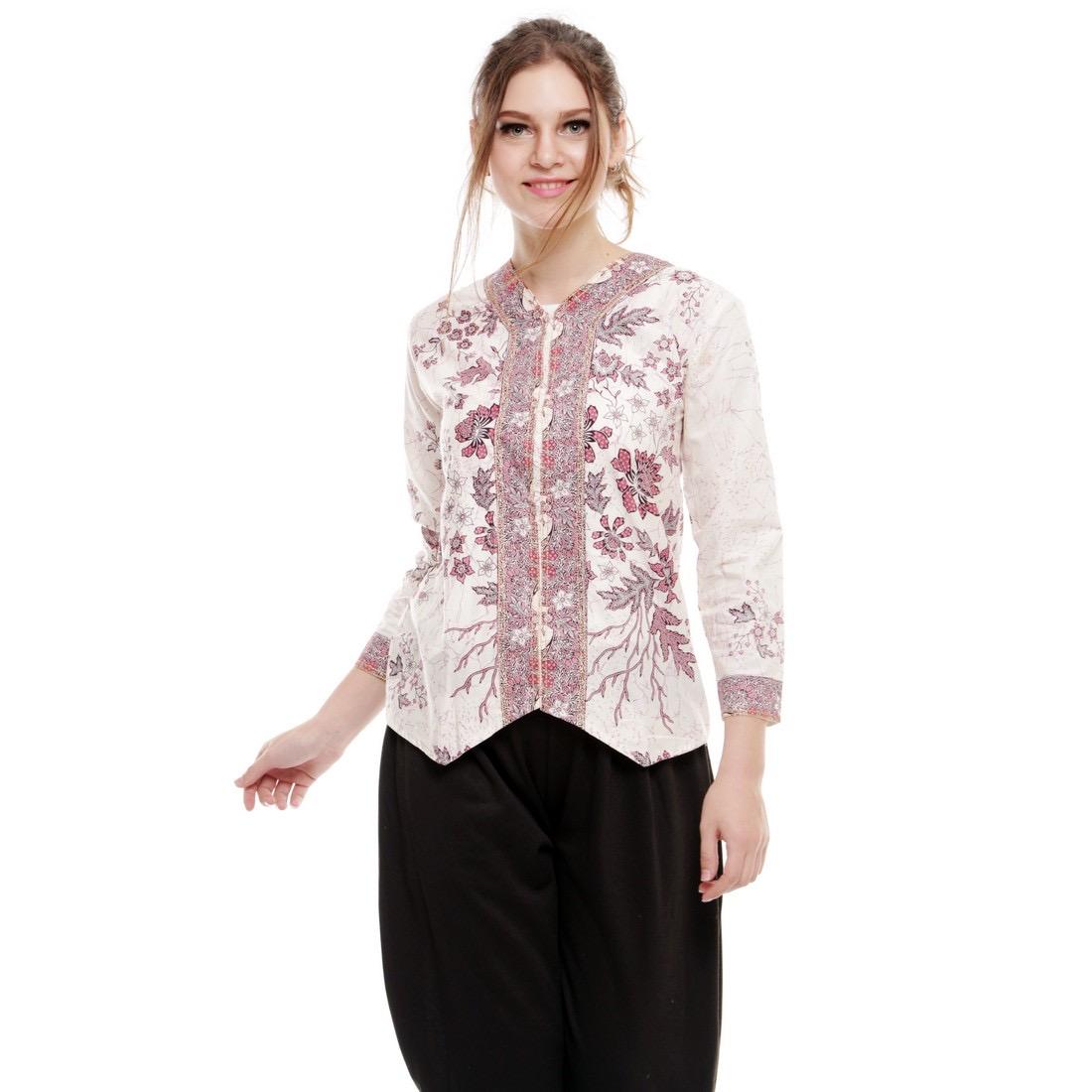Model baju batik kerja blouse putih
