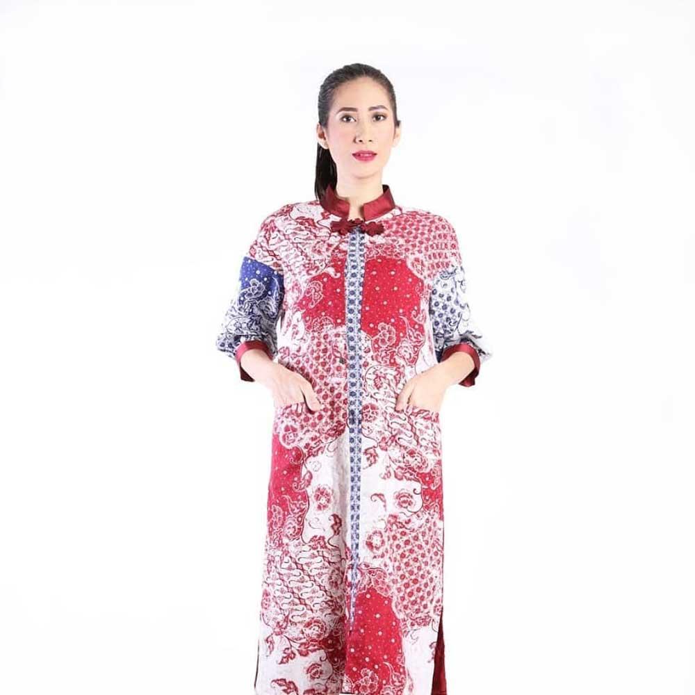 Model baju batik kerja longdress