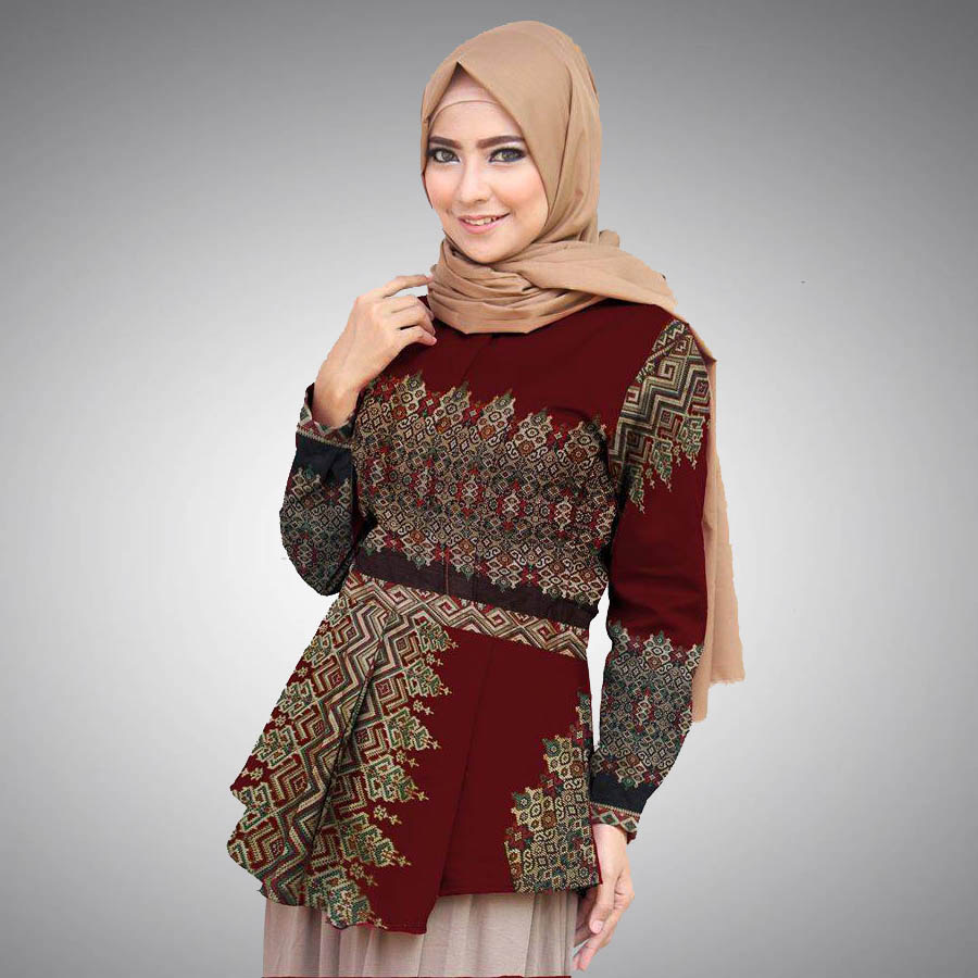 60+ Model Baju Batik Wanita Modern Kombinasi Terbaru 2020