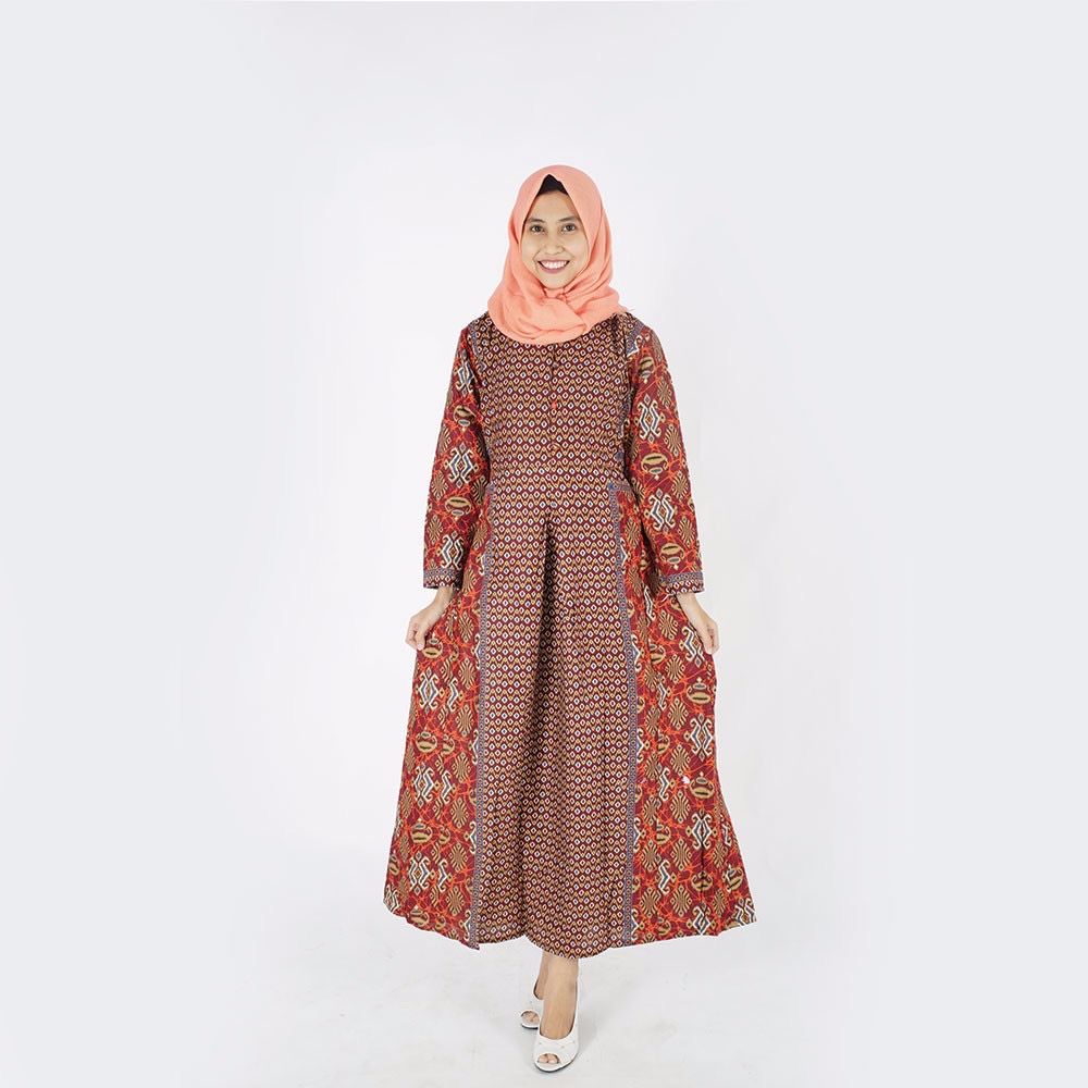 Model baju muslim batik long dress