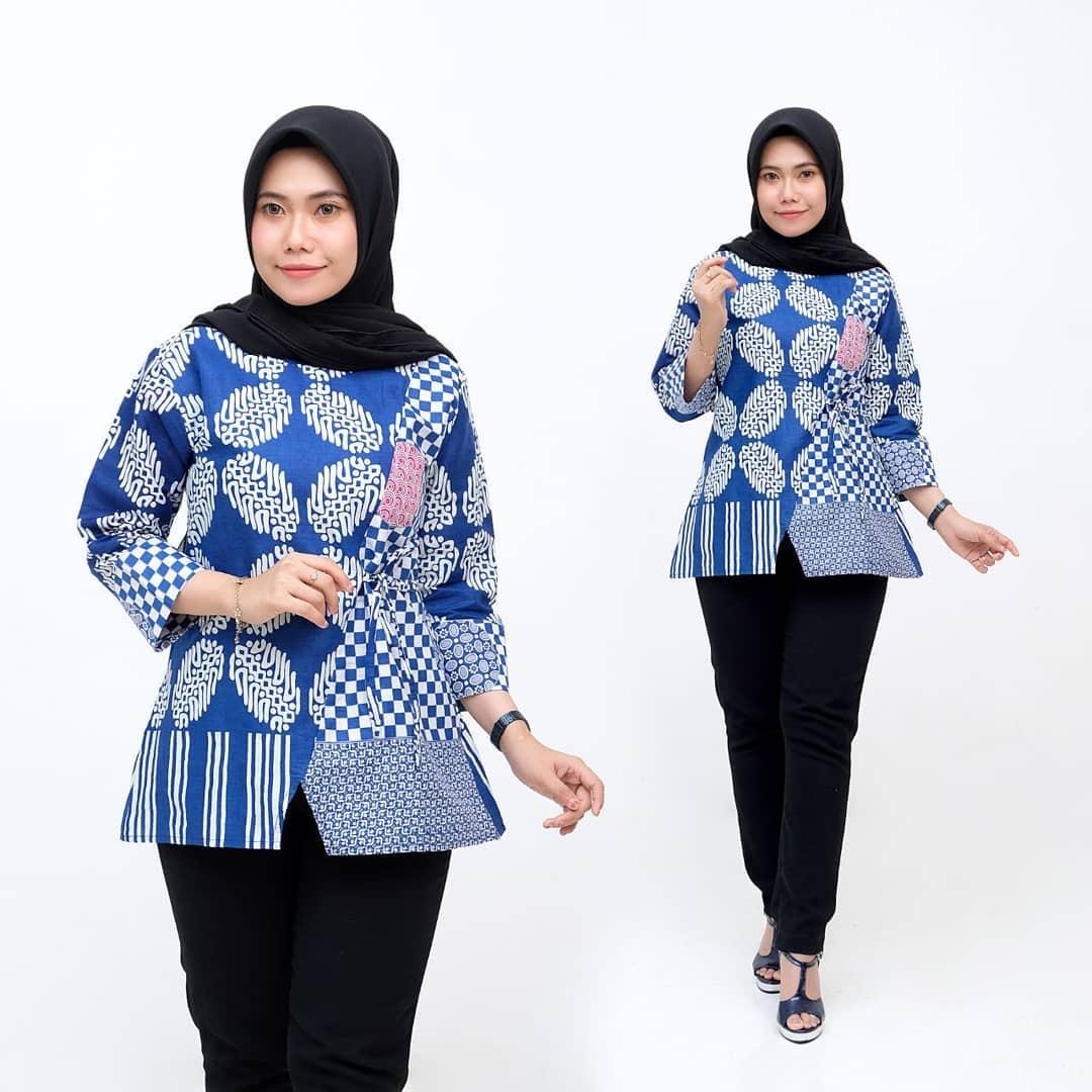 Tunik Batik Kawung Biru