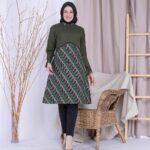 Tunik Batik Kombinasi Polos