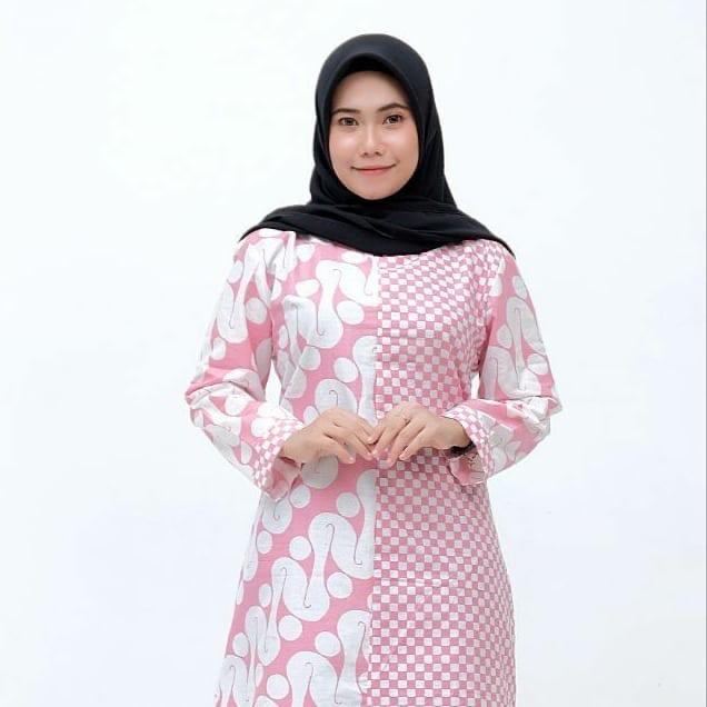 Tunik Kombinasi Batik Parang Pink