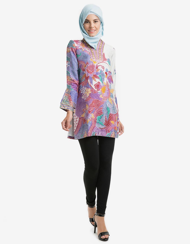 baju batik kerja v neck