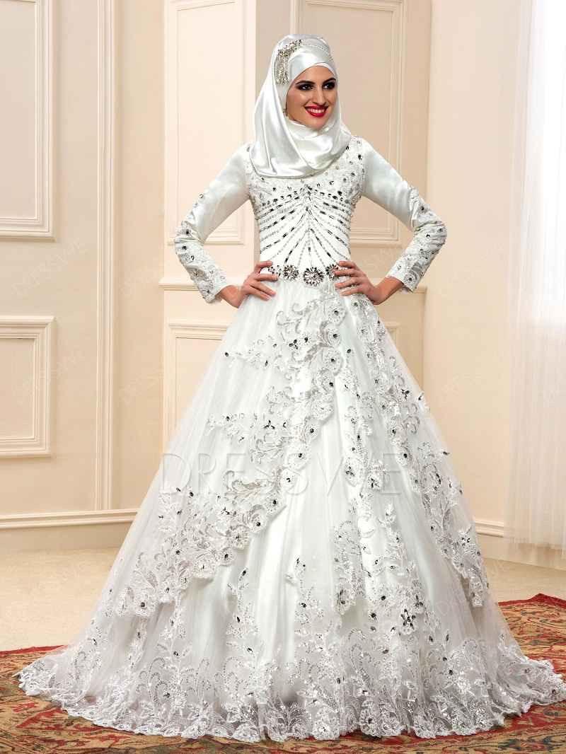 gaun perpaduan kebaya satin untuk muslimah