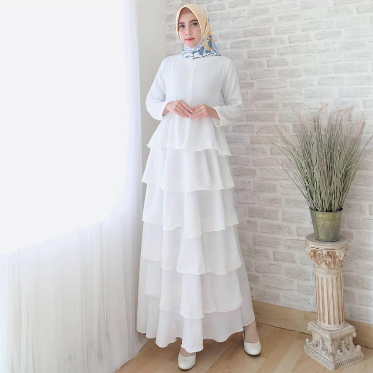 √ 11+ Model Gamis Putih Polos Kombinasi Terbaru 11