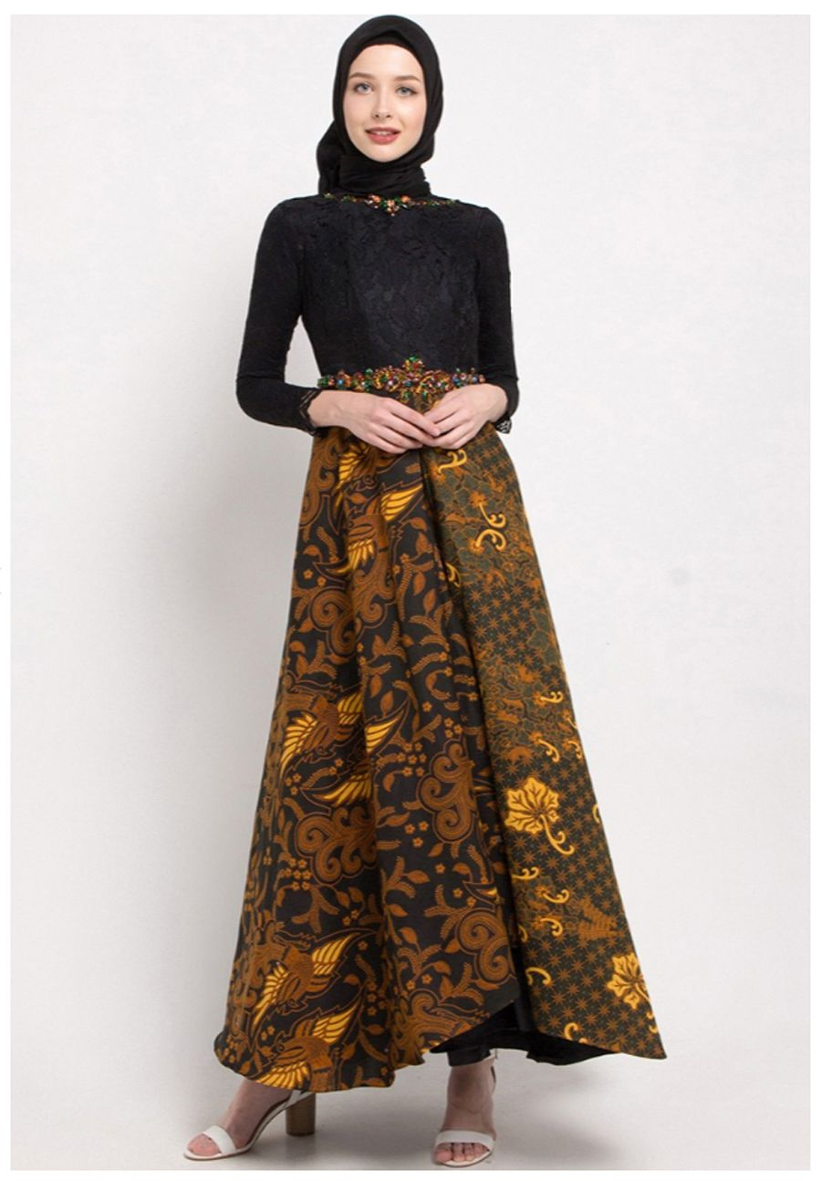 Gamis batik kombinasi brukat