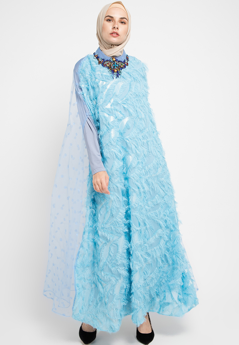 Gamis biru laut fashionable