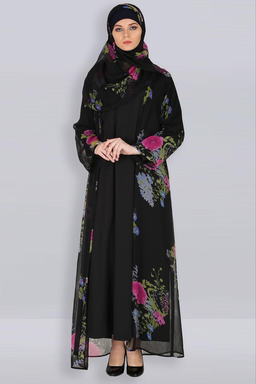 Gamis kardigan motif bunga