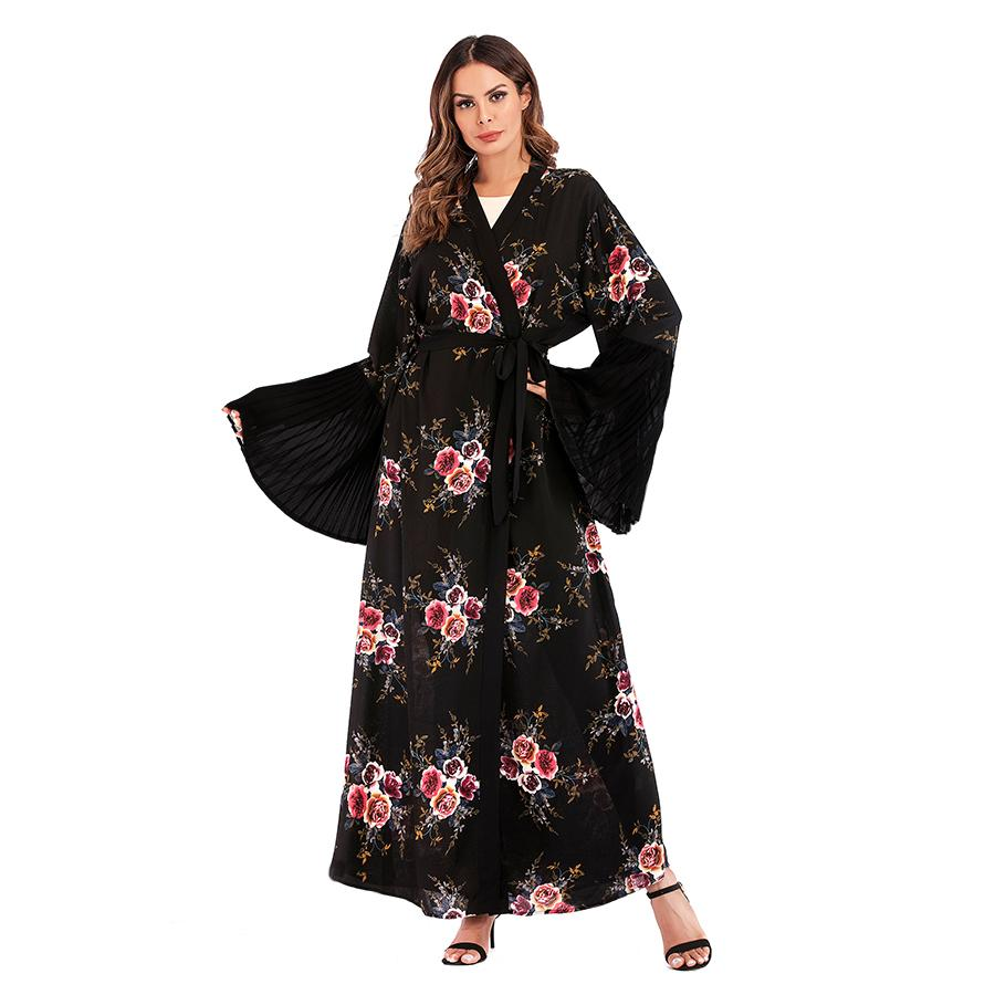 Gamis kimono hitam katun jepang