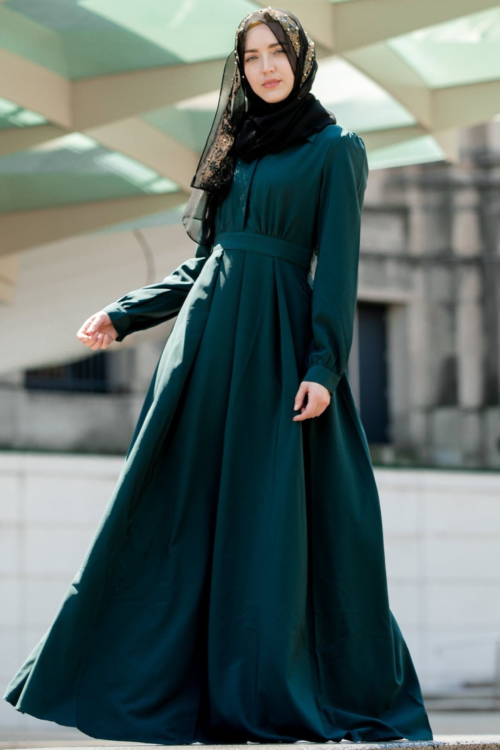 Gamis polos model payung