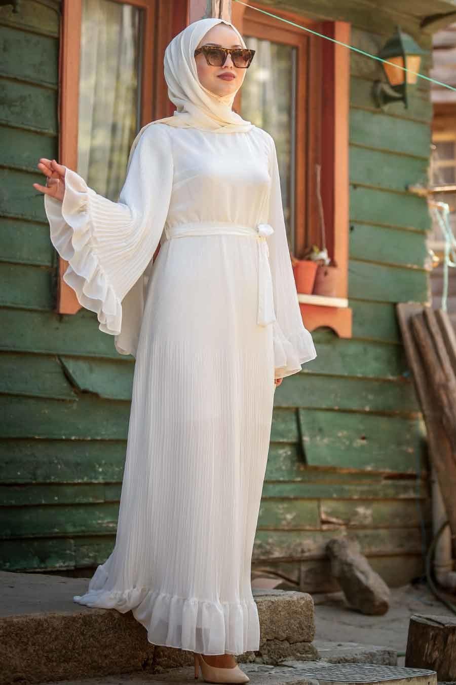 Gaun Putih Gamis Lengan Ujung Longgar