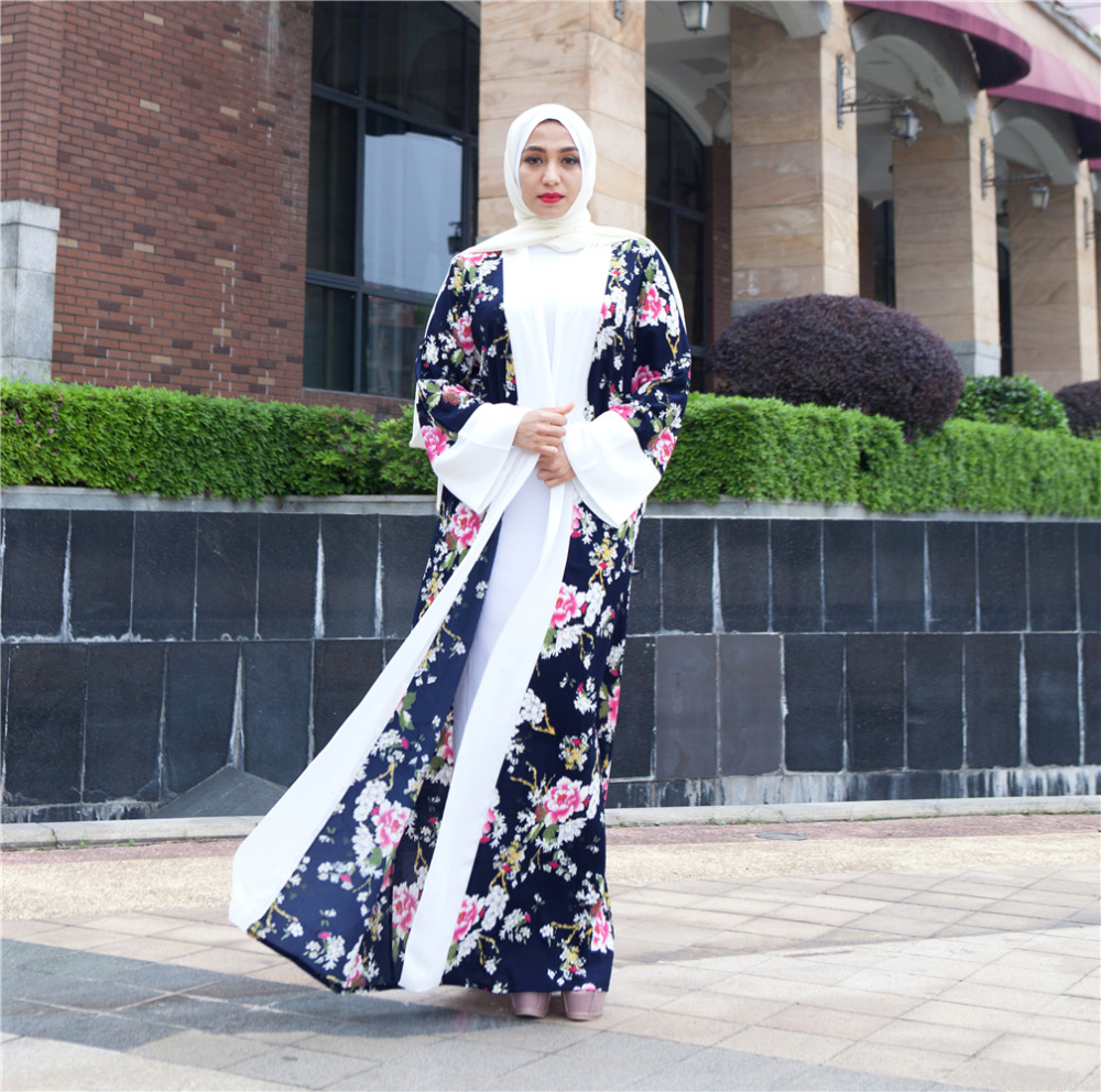 Model gamis kardigan kombinasi