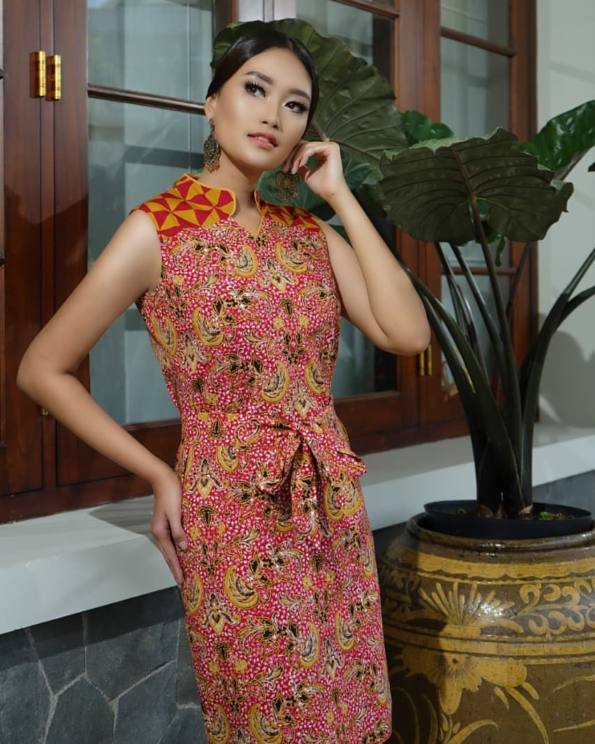 Dress batik keris kerah chiangi