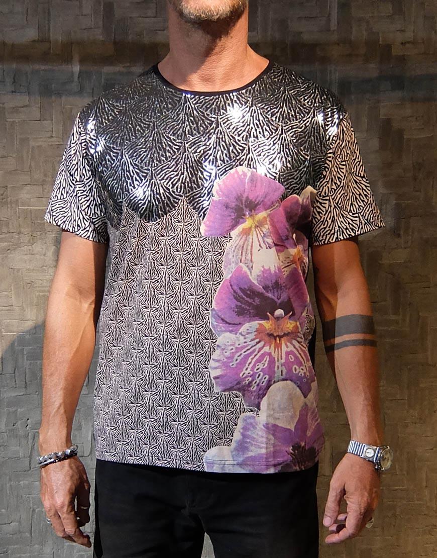Kaos Batik Lengan Pendek Motif Anggrek