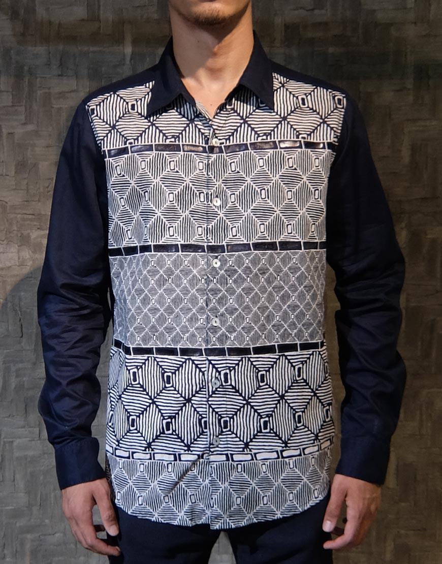 Kemeja Batik Kombinasi Lengan Panjang