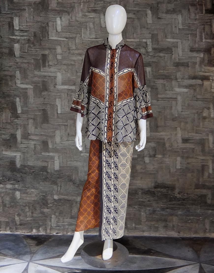 Setelan Batik Bali Cokelat