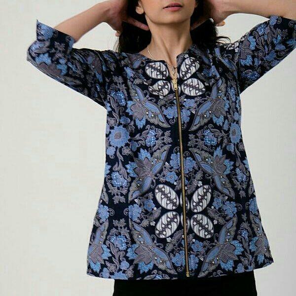 Batik Sidomukti Atasan Wanita Resleting Depan