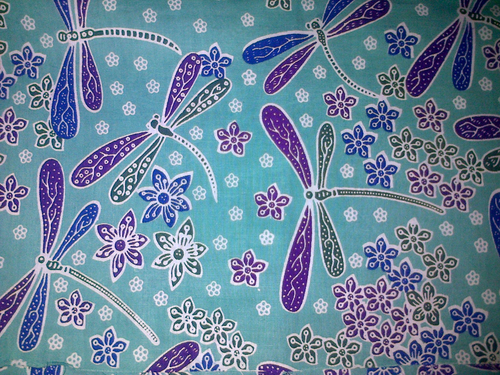 Batik pekalongan motif capung biru muda