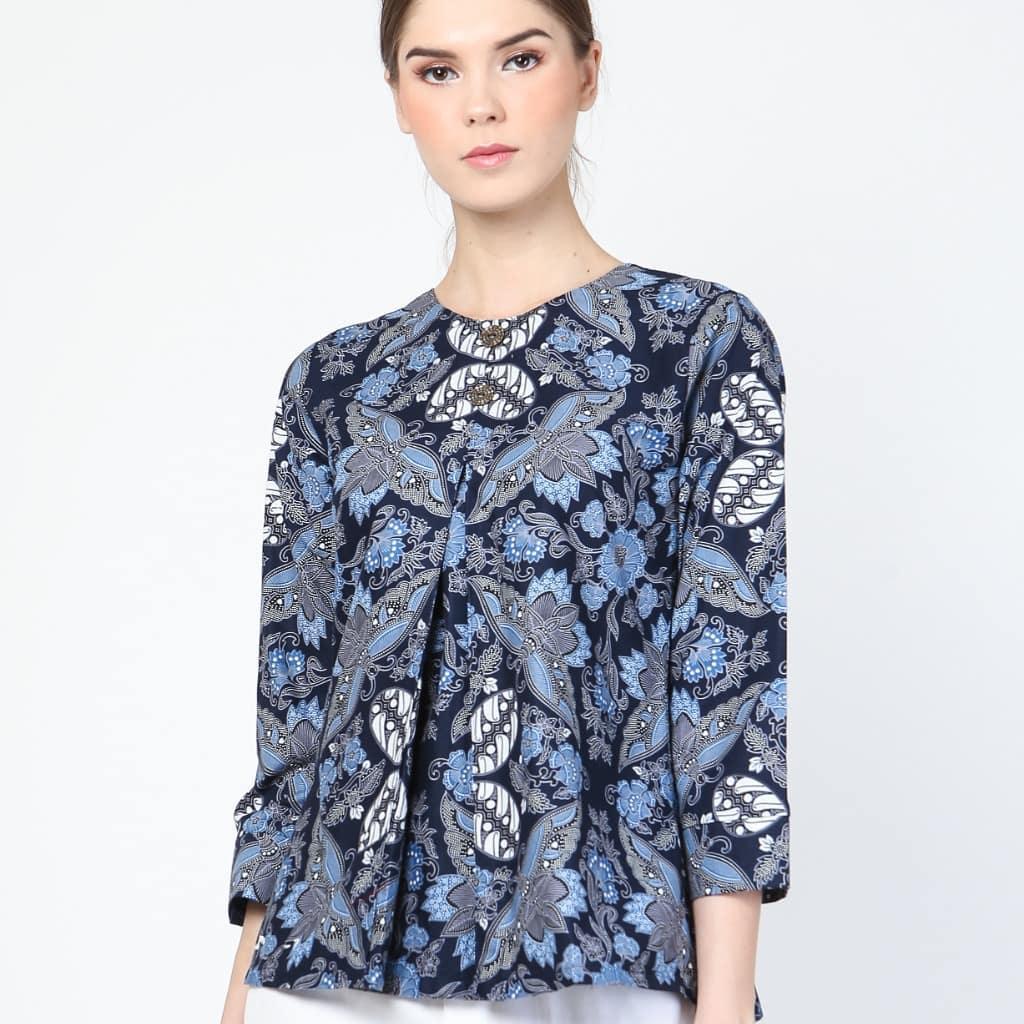 Blouse Wanita Batik Sidomukti Biru
