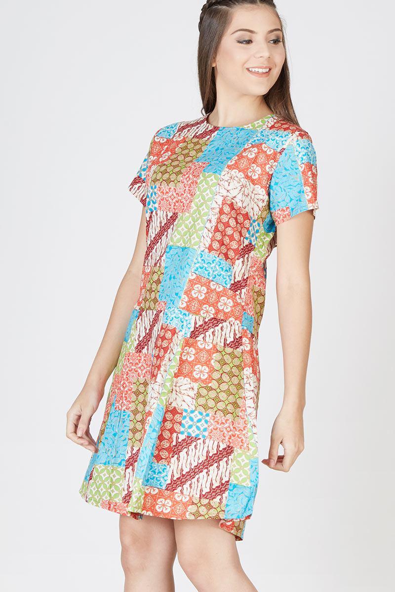 Mini Dress Motif Perca Batik Bali