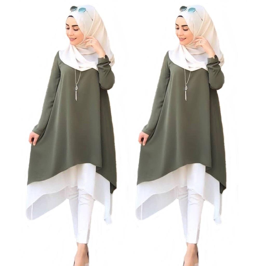 Model Baju Tunik polos kombinasi