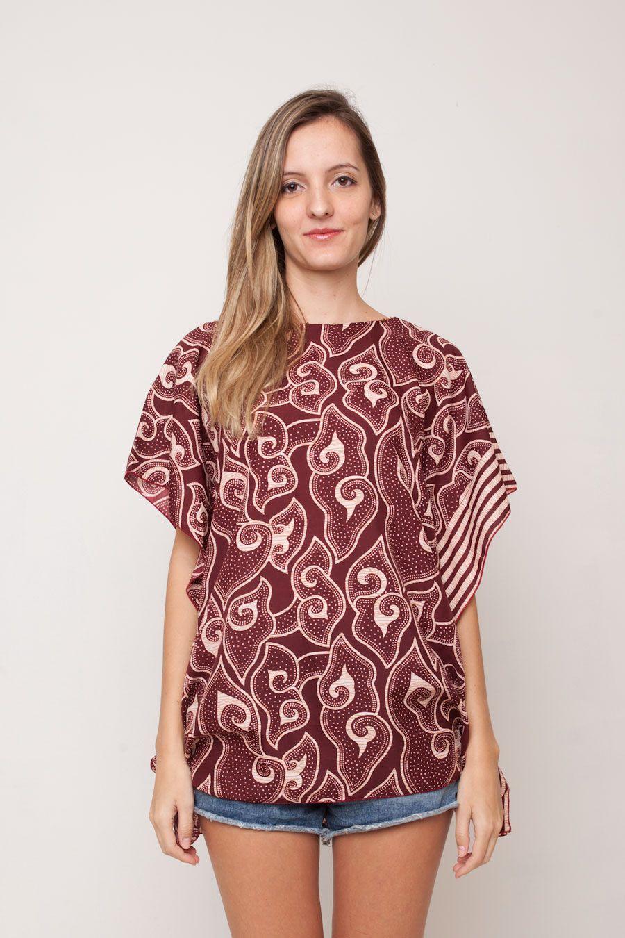 Model Batik Atasan Wanita Mega Mendung Coklat