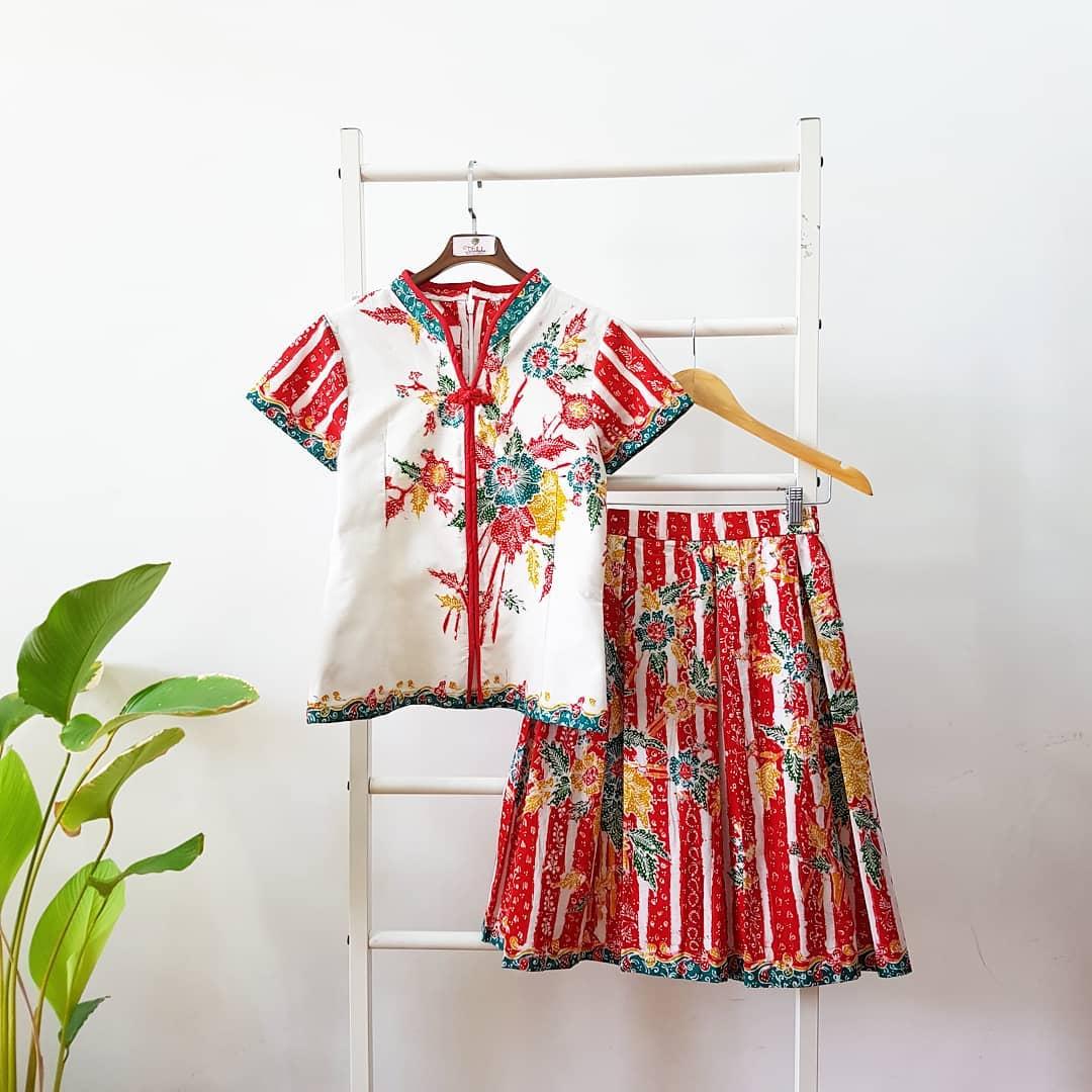 Set Kids Batik Warna Hijau Tosca dan Putih