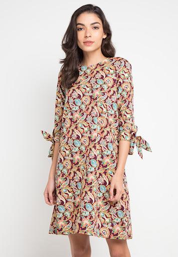 Tunik Batik Motif Bunga Lengan Pita