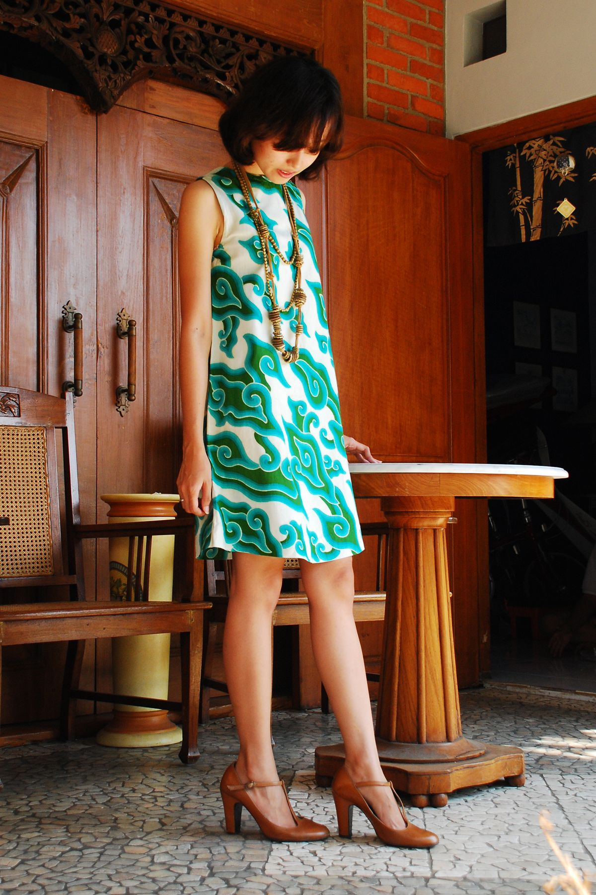 mini dress batik mega mendung