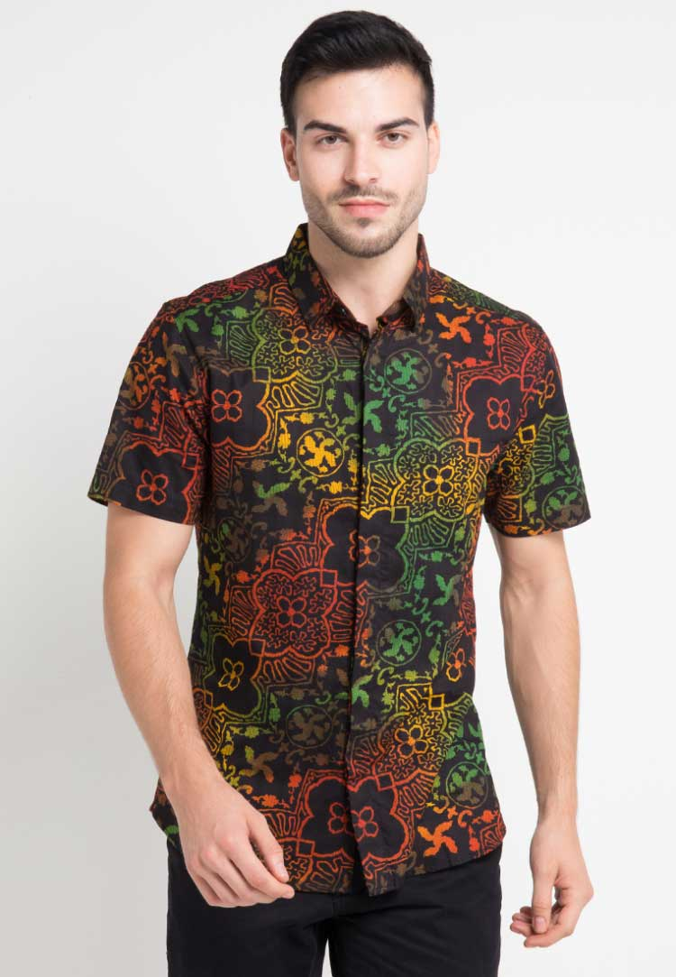 Kemeja Batik Cirebon Rainbow Floral