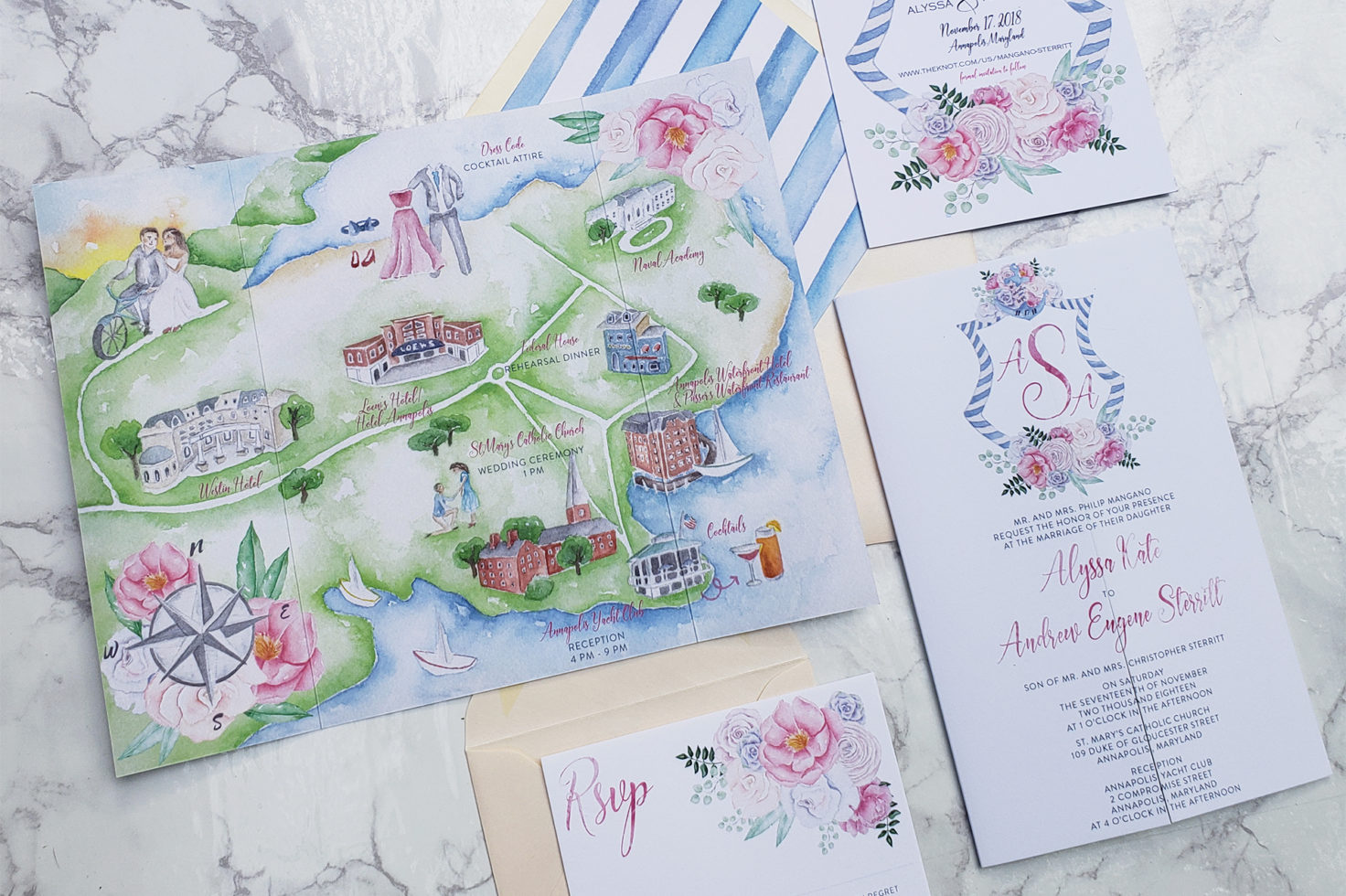 Personalised Map Wedding Art