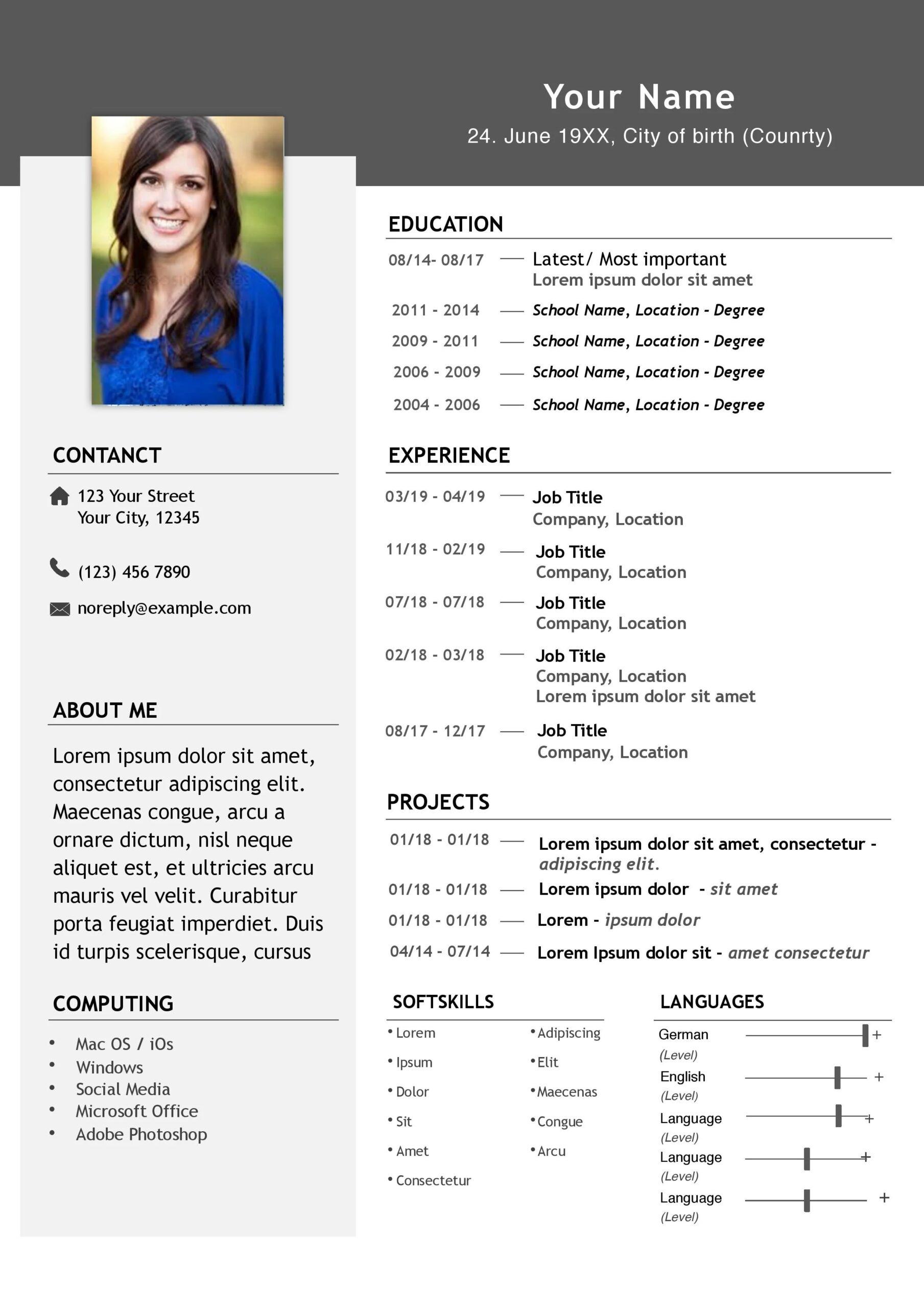 Contoh CV Bahasa Inggris dengan Skill