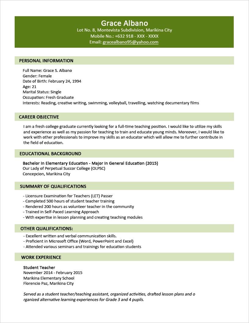 Contoh CV Bahasa Inggris untuk Fresh Graduate