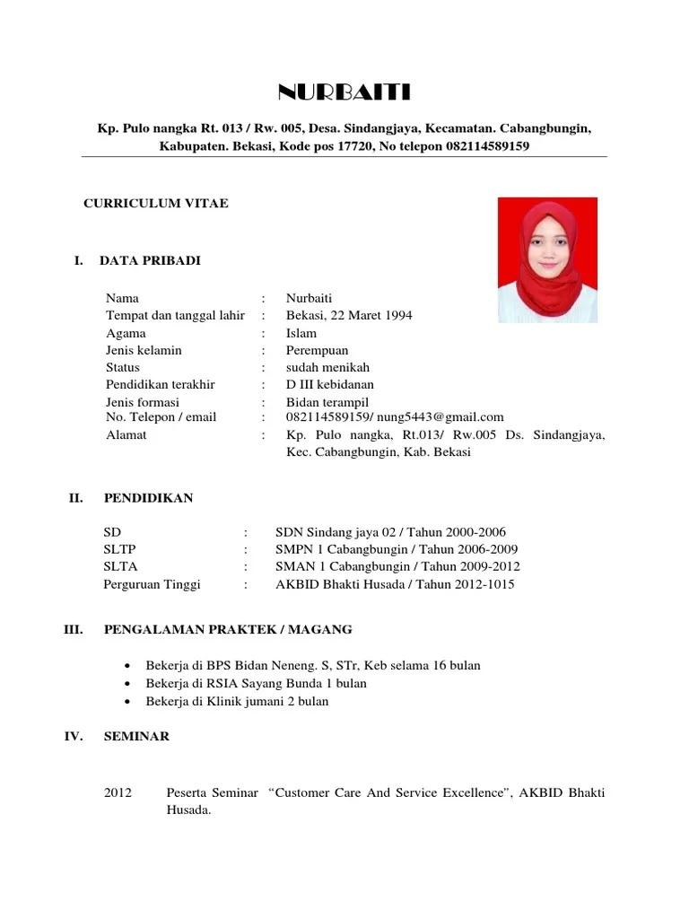Contoh CV Bidan Fresh Graduate