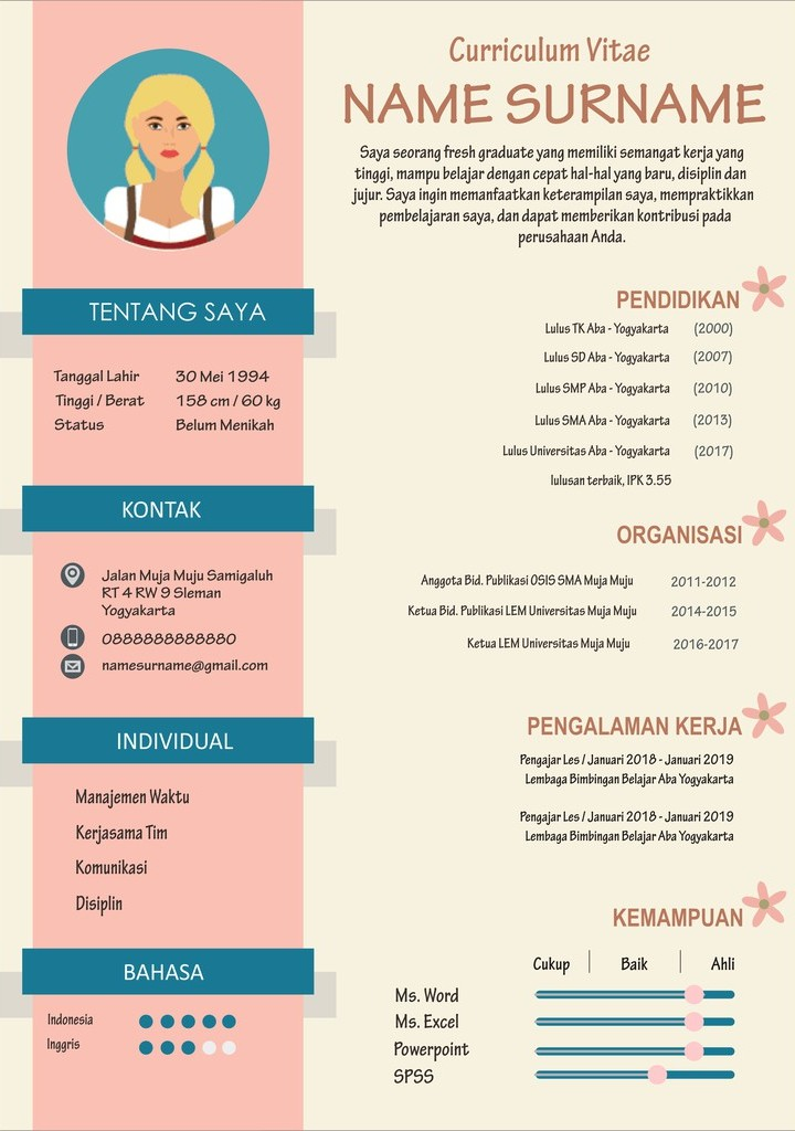Contoh CV Lamaran Kerja untuk Frash Graduate tanpa Pengalaman Kerja
