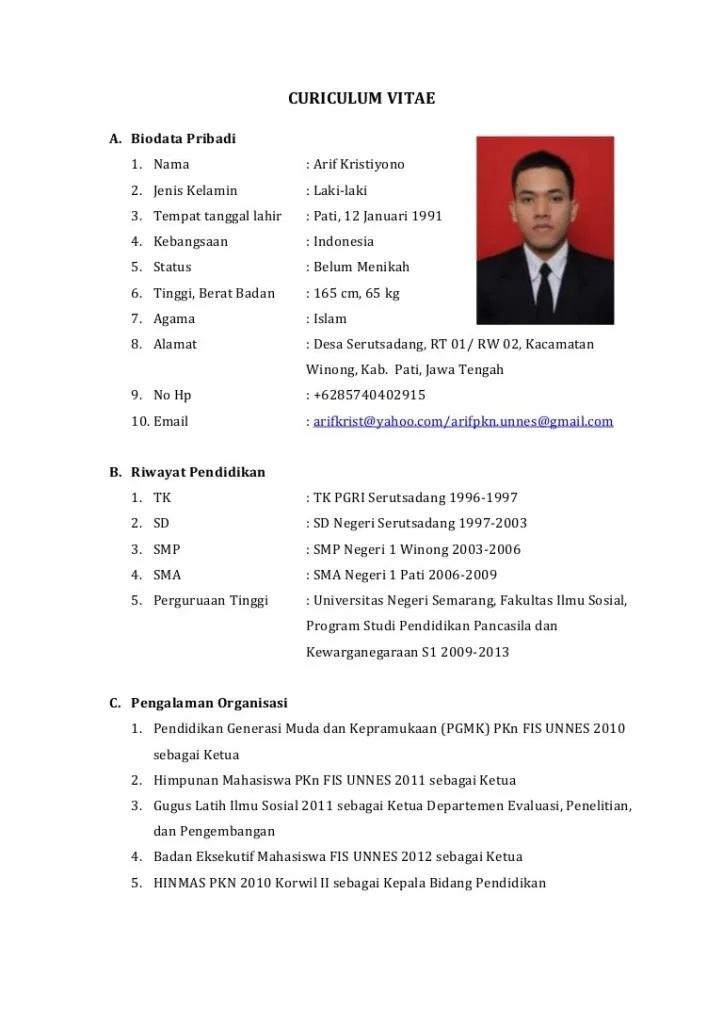 Contoh CV untuk Lamaran Kerja