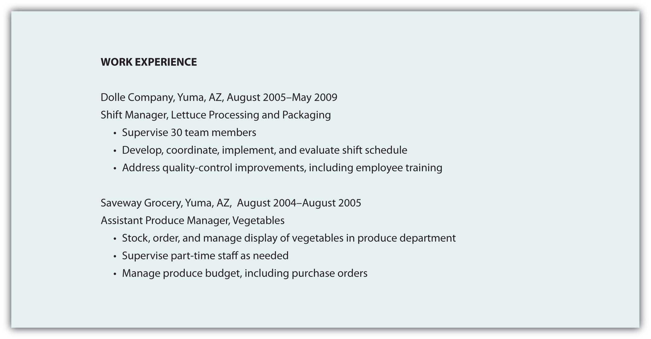 Job Experiences