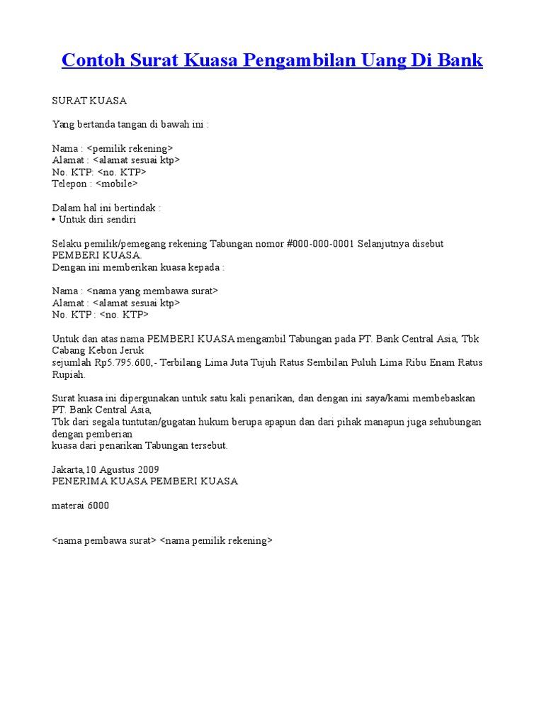Contoh Surat Kuasa Bank Mega